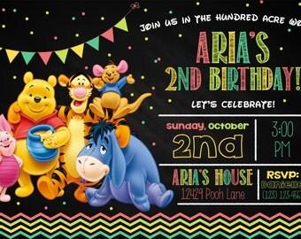 Pooh Bear Invitation, Pooh Bear birthday, Pooh invites, Pooh Bear invite, Pooh party, Pooh Printables, Pooh birthday invitation