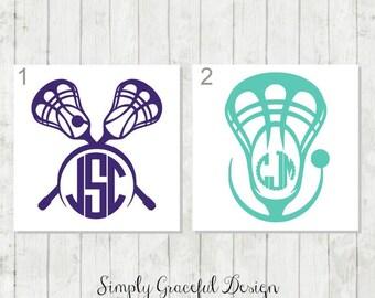 Lacrosse Decal, Lacrosse Monogram Decal, Lacrosse Player Gift, Lacrosse Mom Gift, Lacrosse Coach's Gift, Lacrosse Laptop Decal, Sports Decal