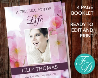 Funeral program template, order of service, memorial program, memorial service (Pink Blossom)