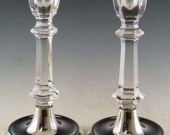 BROADWAY Silver - Pair of Silver & Crystal Candlesticks - 6 1/4""