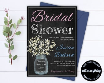 Country Bridal Shower Invitation - Mason Jar Bridal Shower Invite - Baby's Breath Printable Invite - Rustic Bridal Shower Invite - Mason Jar