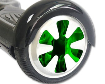 Green Flames Skin Decal Wrap for Hoverboard Balance Board Scooter Wheels, Green Flames Wheels Decals Only