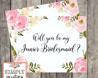 Will You Be My Junior Bridesmaid, Printed Note Card, Bridal Party Ask Card, Be in My Wedding, Proposal Card, Wedding Ask Card, Wedding Party