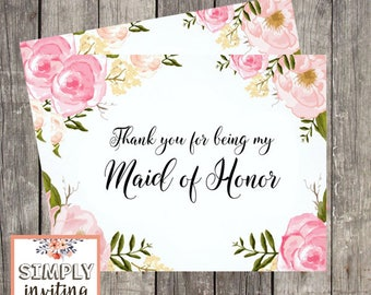 Maid of Honor Bridal Party Thank You Card, Printed Note Card, Bridesmaid, Flower Girl, Floral Watercolor, Matron of Honor, Hostess, Wedding