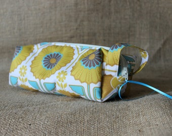 Quilted Zipper Pouch - vinyl lined, yellow and teal sunflowers (cosmetic bag, toiletry bag, carryall)
