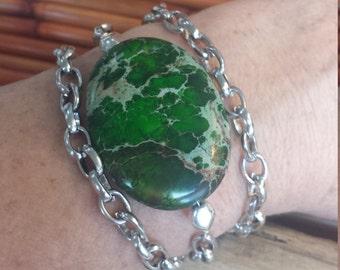 Chain Bracelet/Green Stone