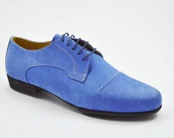 Imagine M-108 Men Tango Shoe, Cap Toe by soft blue nubuck leather Available sizes:42