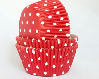High Quality Red & White Polkadot Standard Size Cupcake Cases Cupcake Liners
