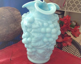 Blue Milk Glass Vase Circa 1940