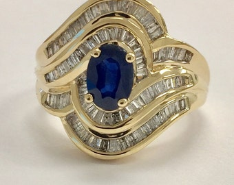 Natural Marquese Blue Sapphire and DIAMOND in 14K Solid Yellow Gold Ring