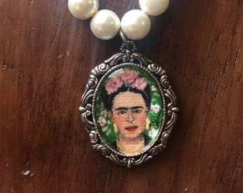 Frida Khalo Hand-Painted Pentant Necklace