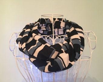 Ladies' stylish blue and black stretch jersey infinity scarf