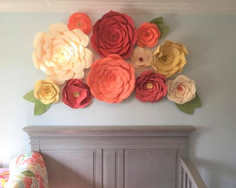 Paper Flowers, Large Paper Flowers for Wall, Floral Backdrop, Giant Flowers, Nursery Backdrop, Flower Wall Decor, Flower Backdrop, Wedding