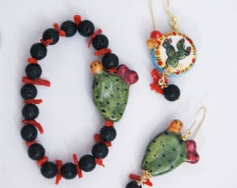 Ceramic bracelet and earrings-Sicilian-Handmade