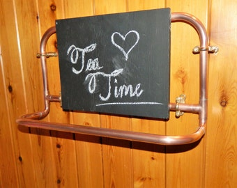 copper pipe tea towel holder with blackboard ideal for kitchen or bar area
