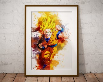 Goku Wall Poster Anime Watercolor Art Print, Super Saiyan Anime Poster Watercolor Wall Art n375