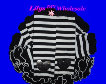 Leg Warmers, Customized Baby Legwarmers, Toddler Legwarmers, Black with Black and White Stripes Legwarmers, Wholesale, Black and White