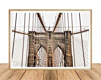 Brooklyn Bridge Digital Print, Instant download, Minimalist Home decor, Travel Photo