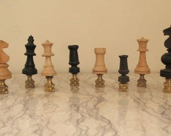vintage wood chess piece finials
