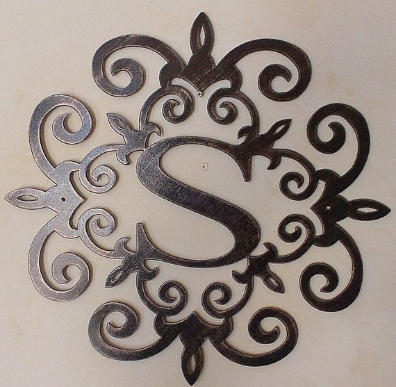 Initial Wall Decor: Family Initial Monogram Metal Wall Sign Wall Decor Any