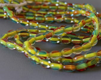 Clear, Yellow, Turquoise, Red Czech African Trade Glass Gooseberry Beads - AG CZECH 114