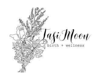Custom Black and White Hand Lettered Logo / Watermark with Flourishes of Your Choice