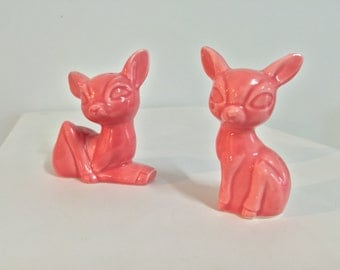 Vintage pink ceramic deer doe salt and pepper shakers
