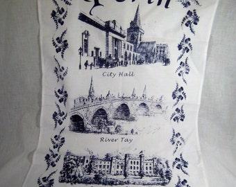 Vintage tea towel Perth Scotland River Tay Scone Palace