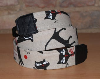 Camera strap, camera strap, DSLR, cats, black, beige, cat, camera strap
