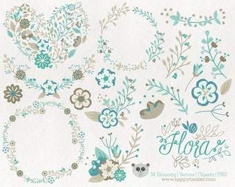 Flowers Clipart 80% OFF! - Vector Graphics, Flower Clipart, Floral Clipart, PNG, Clip Art, Teal, Brown