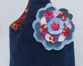 Beautiful Handcrafted Denim Small Handbag with flower detail