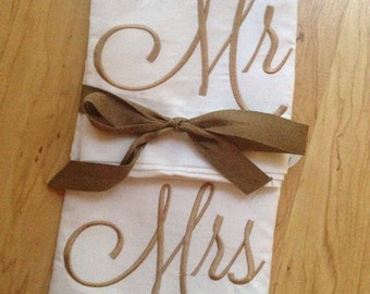 Mr and Mrs Pillow Cases - Boutique embroider - Farmhouse Decor - Unique Wedding Shower gift  Couple gift - gifts under 40, cotton