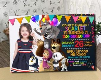 Masha and The Bear Invitation / Masha and The Bear Birthday Invitation / Masha Invitation / Masha Birthday / Masha Invite / Masha Party SS