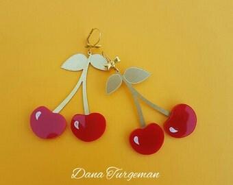 Big Earrings, Retro earrings, Red Earrings , Fun Earrings, Pinup jewelry , Red jewelry, 50's jewelry. Cherry drop earrings, Dangle earrings,