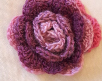 Crochet flower brooch / corsage | PINK | Large