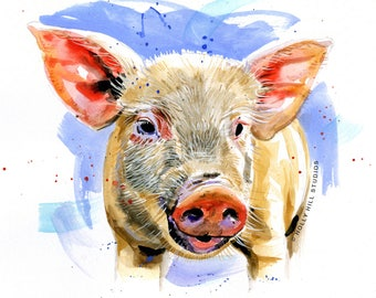 PRINT ANIMAL Watercolour Limited Edition. Animal painting, Animal illustration, Pig
