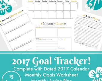 Printables by Lana, 2017 Printable Goal Tracker, PDF Calendar, Goal Worksheets