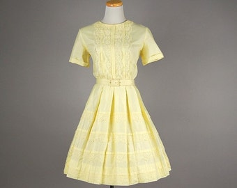 OZ WINTER SALE ** Was 320.00  Adorable 1960s Dixie Deb Lemon Yellow Party Dress