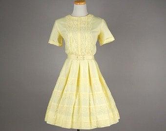 Adorable 1960s Dixie Deb Lemon Yellow Party Dress