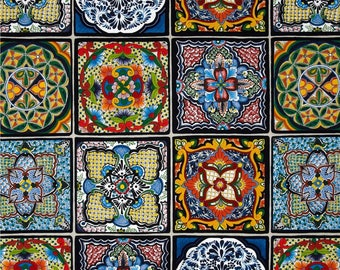 Cotton Fabric Quilting Mexican Tiles Fabric
