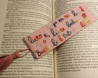 """Bookmark """"Book"""" - multilingual - country - foreign languages hand embroidered"""