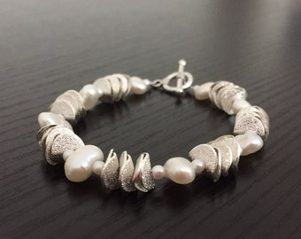 Pearl and silver bracelet - silver and pearl - sterling silver