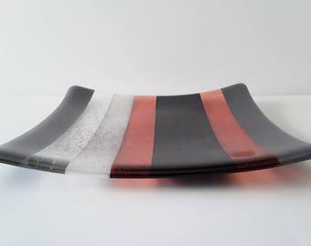Fused Glass Square Stripe Sushi Plate in Black,Grey, Clear & Burnt Scarlet