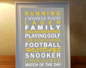 Dad likes personalised word art, framed word art, personalised print, family print, dad, father, christmas gift, christmas present