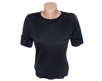 Vintage Mondi ® women blouse top black size 38
