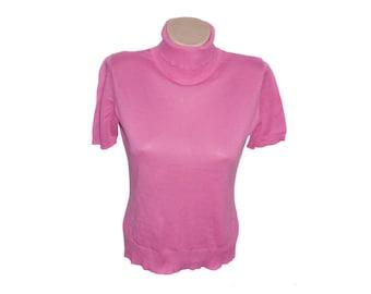 Vintage pink women tops blouses 100% cotton