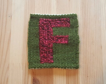 The Letter F (Block) - Handwoven Monogram Tapestry