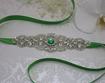 emerald green belt, crystal bridal sash, rhinestone bridal sash, bridal belt, beaded bridal belt, wedding sashes, emerald bridesmaid sash