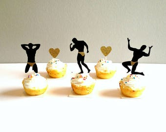 Bachelorette Party Cupcake Toppers, Male Stripper Cupcake Toppers, Bachelorette Cupcake Picks, Bachelorette Party Decor