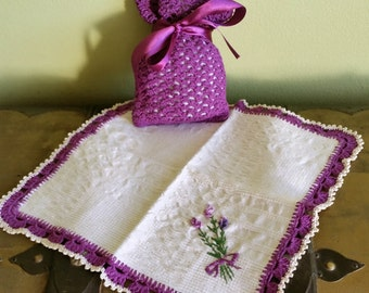 Romantic rustic style textile Lavender set : doily with crochet bag pouch. Handmade lace & embroidery